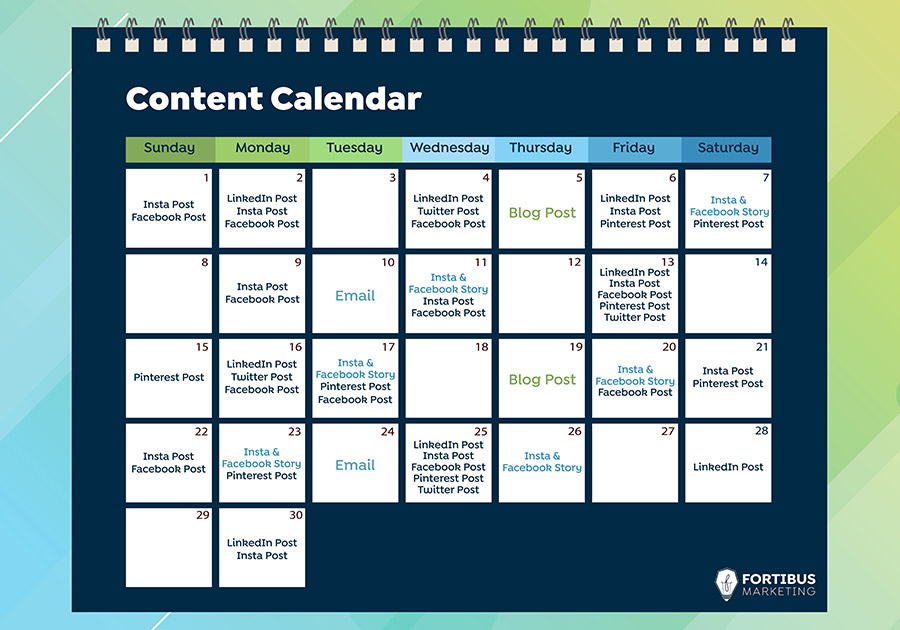 calendar for planning your posting schedule