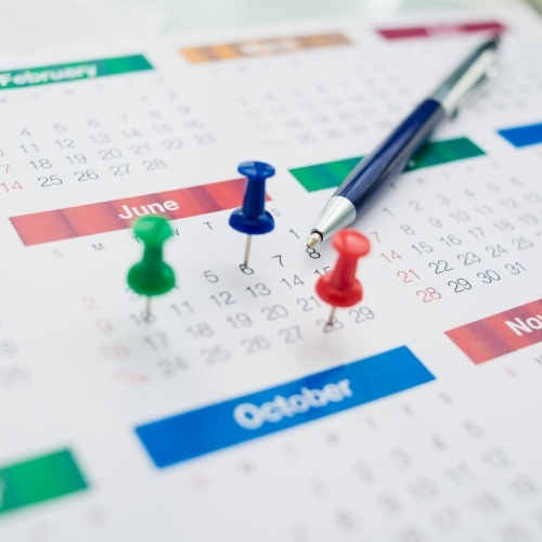 calendar with deadlines and due dates